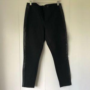J. Crew leggings with leather tuxedo stripe